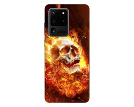 Husa Silicon Soft Upzz Print Samsung Galaxy S20 Ultra Model Flame Skull