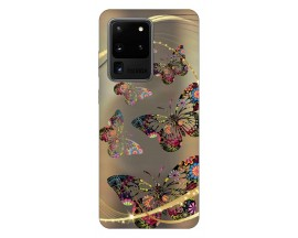Husa Silicon Soft Upzz Print Samsung Galaxy S20 Ultra Model Golden Butterfly
