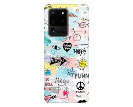 Husa Silicon Soft Upzz Print Samsung Galaxy S20 Ultra Model Meow