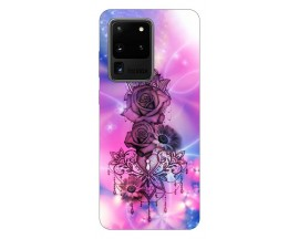 Husa Silicon Soft Upzz Print Samsung Galaxy S20 Ultra Model Neon Rose