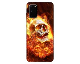 Husa Silicon Soft Upzz Print Samsung Galaxy S20 Model Flame Skull