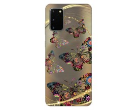 Husa Silicon Soft Upzz Print Samsung Galaxy S20 Model Golden Butterfly
