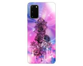 Husa Silicon Soft Upzz Print Samsung Galaxy S20 Model Neon Rose