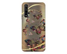 Husa Silicon Soft Upzz Print Huawei Nova 5t Model Golden Butterfly