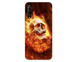 Husa Silicon Soft Upzz Print Huawei P Smart Pro 2019 Model Flame Skull