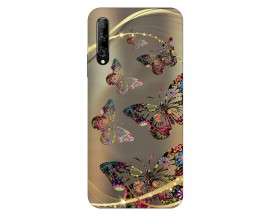 Husa Silicon Soft Upzz Print Huawei P Smart Pro 2019 Model Golden Butterfly