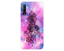 Husa Silicon Soft Upzz Print Huawei P Smart Pro 2019 Model Neon Rose