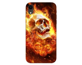 Husa Silicon Soft Upzz Print iPhone Xr Model Flame Skull