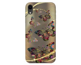 Husa Silicon Soft Upzz Print iPhone Xr Model Golden Butterfly