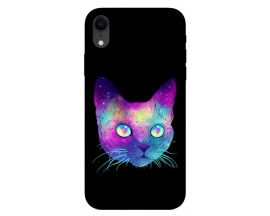 Husa Silicon Soft Upzz Print iPhone Xr Model Neon Cat