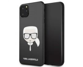 Husa Premium Karl Lagerfeld iPhone 11 Pro Max Glitter Iconic Karl Head Negru