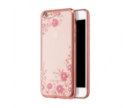 Husa Spate Forcell Bling Diamond Flower Iphone 6/6s Rose Gold