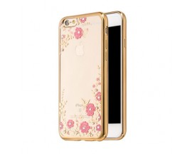 Husa Spate Forcell Bling Diamond Flower Iphone 6/6s Gold