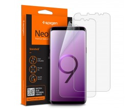 Folie Silicon Premium Neo Flex Spigen Samsung S9+ Transparenta Case Friendly 2 Bucati In Pachet