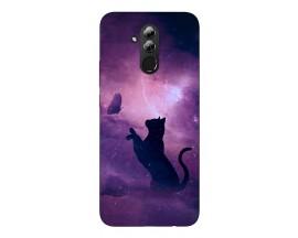 Husa Silicon Soft Upzz Print Huawei Mate 20 Lite Model Shadow Cat