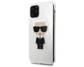 Husa Premium Karl Lagerfeld iPhone 11 Pro Max Glitter Karl Argintiu, Silicon