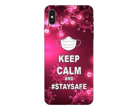 Husa Silicon Soft Upzz Print iPhone Xs Max Model Stay Safe