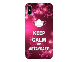 Husa Silicon Soft Upzz Print iPhone Xs Model Stay Safe