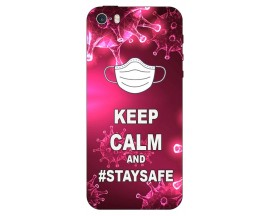Husa Silicon Soft Upzz Print iPhone 5/5s/se Model Stay Safe