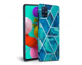 Husa Spate Tech-protect Marble Silicone Samsung Galaxy A71 Blue