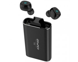 Casti Bluetooth Premium Awei T85 TWS Twins True Wireless Bluetooth 5.0, Negre ,Carcasa Cu Functie De Incarcare