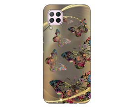 Husa Silicon Soft Upzz Print Huawei P40 Lite Model Golden Butterfly