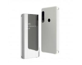 Husa Tip Carte Mirror Huawei P30 Lite Cu Folie Sticla Upzz Glass Inclusa In Pachet,Silver