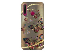 Husa Silicon Soft Upzz Print Huawei P40 Lite E Model Golden Butterfly