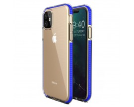 Husa Spate Upzz Spring iPhone 11 ,Silicon 1mm ,Rezistenta La Socuri ,Transparenta Cu Margine Albastru