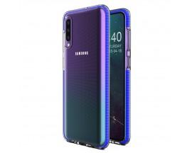 Husa Spate Upzz Spring Samsung Galaxy A70 ,Silicon 1mm ,Rezistenta La Socuri ,Transparenta Cu Margine Albastru
