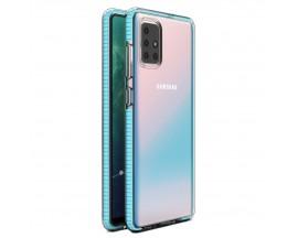 Husa Spate Upzz Spring Samsung Galaxy A71, Silicon 1mm ,Rezistenta La Socuri ,Transparenta Cu Margine Albastru Deschis