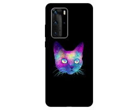 Husa Silicon Soft Upzz Print Huawei P40 Pro Model Neon Cat