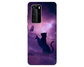 Husa Silicon Soft Upzz Print Huawei P40 Pro Model Shadow Cat