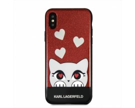 Husa Spate Premium Karl Lagerfeld iPhone X / XS, Choupette Heart, KLHCPXVDCRE Rosu