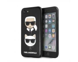 Husa Premium Originala Karl Lagerfeld iPhone Se 2 ( 2020 ) ,Colectia Karl si Choupette ,Piele ,Negru - KLHCI8KICKC
