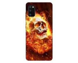 Husa Silicon Soft Upzz Print Samsung Galaxy Galaxy A41 Model Flame Skull