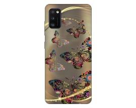 Husa Silicon Soft Upzz Print Samsung Galaxy Galaxy A41 Model Golen Butterfly