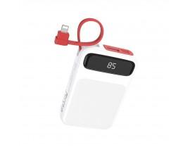 Baterie Externa Hoco Power Z ,10.000mah Cu Cablu Lightning Incorporat ,alba - J40