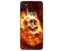 Husa Silicon Soft Upzz Print Samsung Galaxy A11 Model Flame Skull