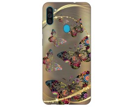 Husa Silicon Soft Upzz Print Samsung Galaxy A11 Model Golden Butterfly