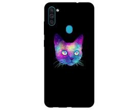 Husa Silicon Soft Upzz Print Samsung Galaxy A11 Model Neon Cat