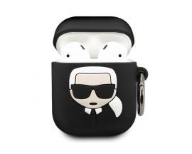 Husa Protectie Originala Karl Lagerfeld Pentru Airpods 1/2  Negru
