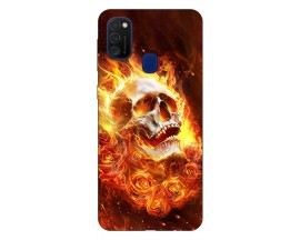 Husa Silicon Soft Upzz Print Samsung Galaxy M21 Model Flame Skull