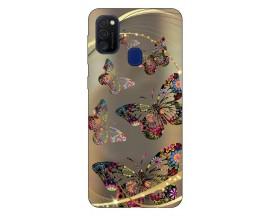 Husa Silicon Soft Upzz Print Samsung Galaxy M21 Model Golden Butterfly