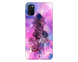 Husa Silicon Soft Upzz Print Samsung Galaxy M21 Model Neon Rose