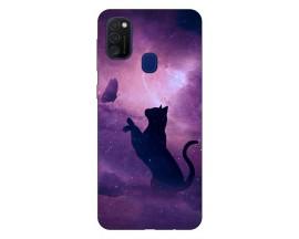 Husa Silicon Soft Upzz Print Samsung Galaxy M21 Model Shadow Cat