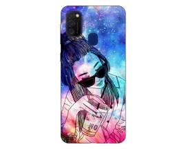 Husa Silicon Soft Upzz Print Samsung Galaxy M21 Model Universe Girl