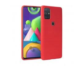 Husa Premium Upzz Liquid Silicon Pentru Samsung Galaxy M21 Cu Invelis Alcantara La Interior , Rosu