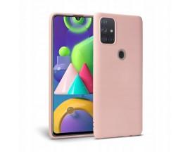 Husa Premium Upzz Liquid Silicon Pentru Samsung Galaxy M21 Cu Invelis Alcantara La Interior , RoZ
