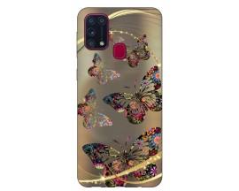 Husa Silicon Soft Upzz Print Samsung Galaxy M31 Model Golden Butterfly